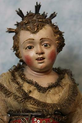 15-1/2 inch 18th Century Italy Child Jesus Carved Wood Metal halo Glass eyes