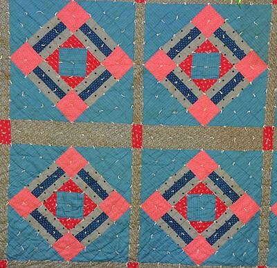 19thc – LOVELY 9 PATCH VARIATION in BLUE & PINK VINTAGE ANTIQUE PATCHWORK QUILT.