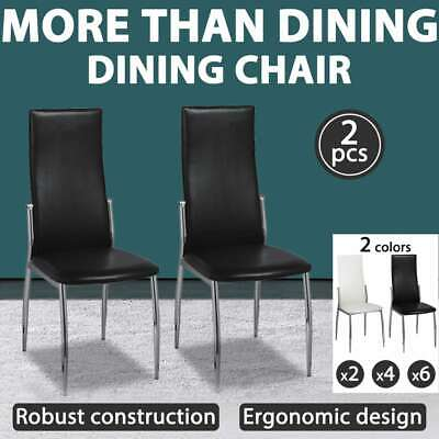 Black/White 2/4/6pcs Faux Artificial Leather Dining Chairs Kitchen Cafe Seat