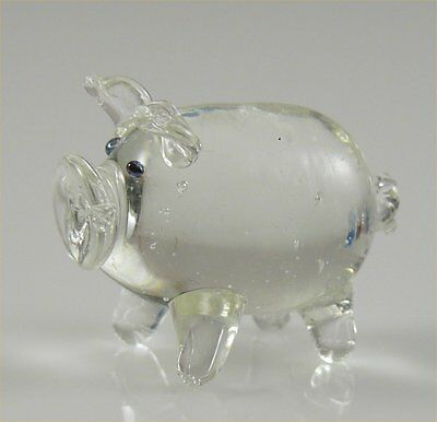 """Pig Piggy Hog Miniature Figurine Glass Clear approx 1"""" long  Tiny *New style"""""""