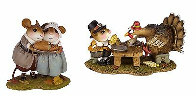 Wee Forest Folk M-592 Turkey at Dinner! & M-593  Pilgrim Potluck - Set of 2