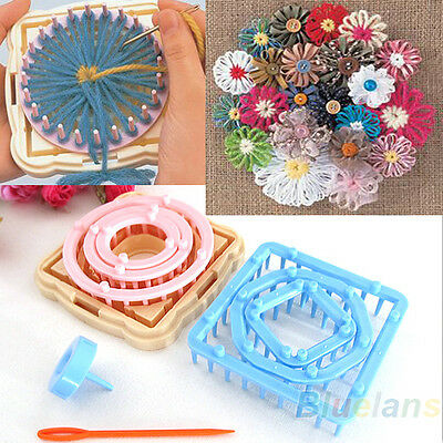 9PCS Flower Knitting Loom Knit Daisy Maker Wool Yarn Needle Home Craft Novelty