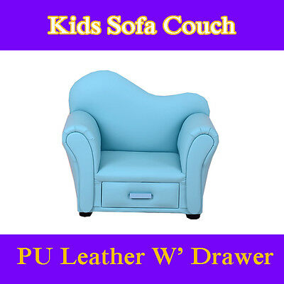 Blue Kids Toddlers Sofa Lounge Couch Chair Drawer Australia Standard Certified