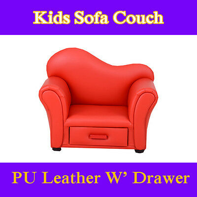 Red Girls Boys Kids Toddlers Sofa Lounge Couch Chair Drawer Australia Certified