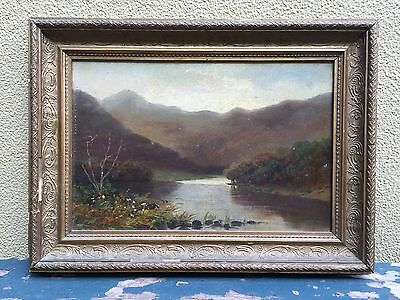 Old Beautiful Vintage Framed Riverscape Oil Painting Signed A. Hart
