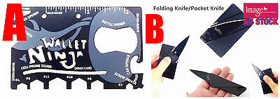 Credit Card Size Pocket Tool Wallet Ninja 18 in 1 Multi-Tool Choose Tool A/B YW