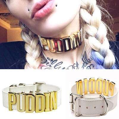 Hot Puddin Leather Collar Choker Steampunk Cosplay Suicide Squad Harley Quinn