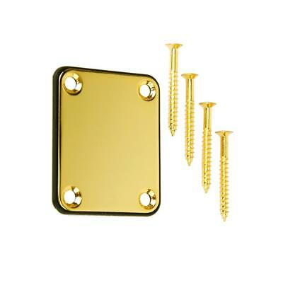 Gold Guitar Neck Plate w/ Mounting Screws for Electric Guitars Accessories
