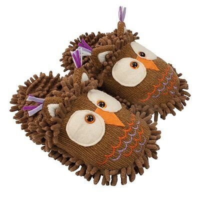 Aroma Home FUZZY FRIENDS SLIPPERS up to UK Size 7 - Brown OWL