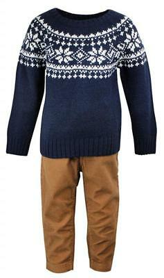 Boys Fairisle Knitted Jumper & Corduroy Trousers Outfit Set 9 Months to 4 Years