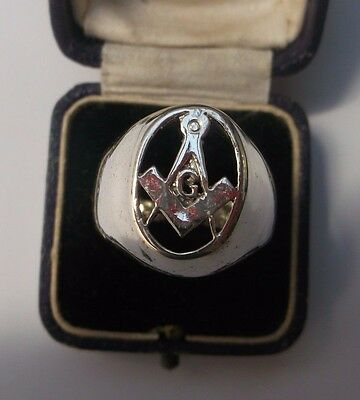 Masonic Silver Men's Ring Stamped Size T Weight 13.7g Lovely Condition