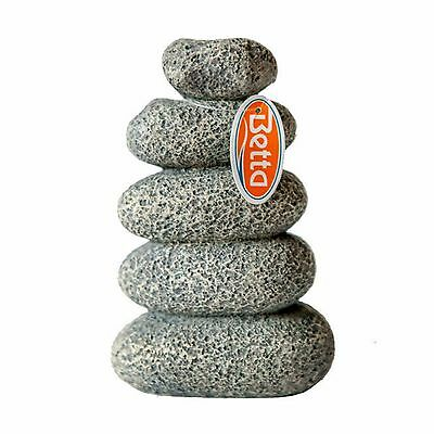 Aquarium Ornament Stacked Light Grey Pebbles