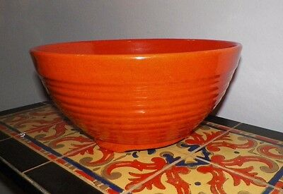 Vintage Orange Bauer Footed Ringware Punch Bowl 14""