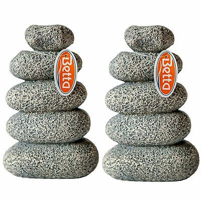 Aquarium Ornament Stacked Light Grey Pebbles  Pack Of Two