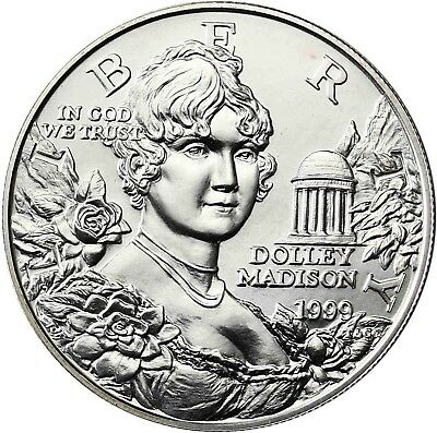 USA 1 Dollar Silber 1999 Stgl Silbermünze First Lady Dolley Madison