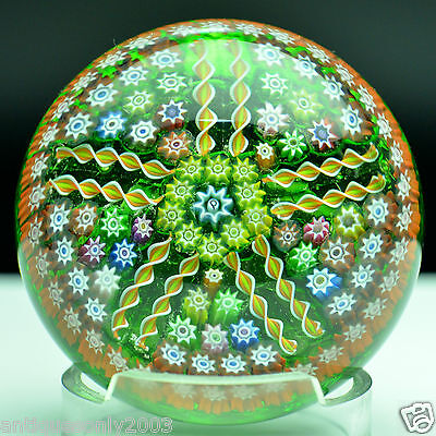 PERTHSHIRE PP5 Millefiori Translucent Ground Art Glass Paperweight SIGNED #1404