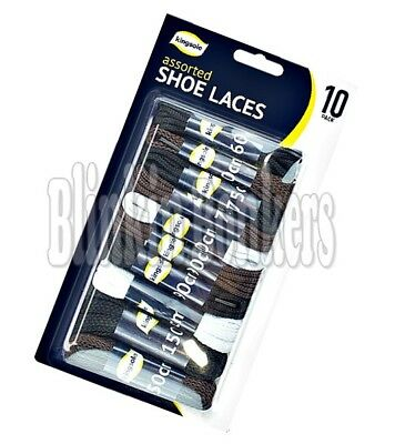 10 Pairs Round Flat Laces Strong Long Hiking Work Boot Shoe White Black Brown