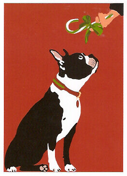 Boston Terrier Candy Cane Christmas Cards - Box of 12