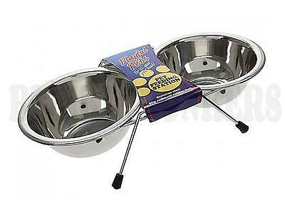 Raised Pet Dog Cat Double Food Water Bowls Non Slip Feet Stainless Steel Metal