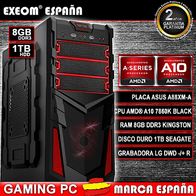 Ordenador Pc Gaming Amd A10 7850K 8Gb Ddr3 1Tb Hdd Hdmi Juegos - Marca España