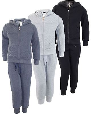 New Kids Boy Plain Quilted Fleece Hoodie Jogging Bottom Jogger Tracksuit Trackie