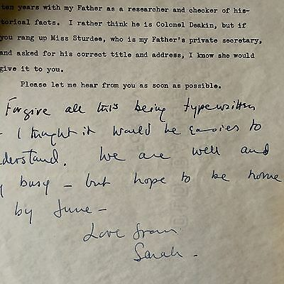 Sarah Churchill Daughter Of Winston Signed Long Letter & Vic Oliver Autograph
