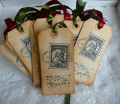 10 Handmade North Pole Special Delivery Christmas Gift Tags Green & Red Scented