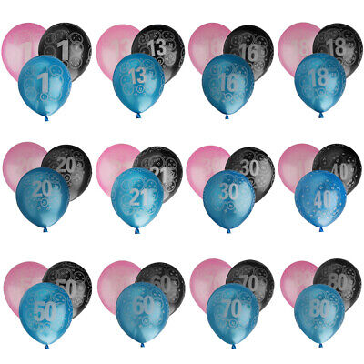 10 Inch Happy Birthday Anniversary Balloons Decoration Ages 1-80 Packs Of 20
