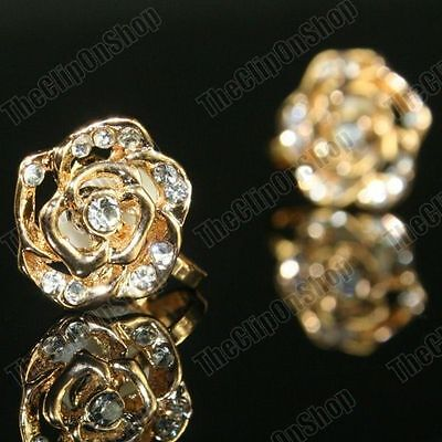 CLIP ON silver/gold plated CRYSTAL ROSE antique vintage styl EARRINGS rhinestone