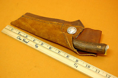 Vintage Old Hand Made Fighting Hunting  Knife With Scobbard free ship
