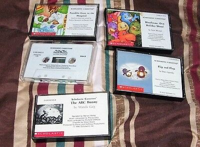 Lot of 5 children's Scholastic Audio books on Cassette Tape