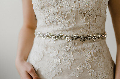 ROUGE SILVER -  Rhinestone Flower Diamante Bridal Sash Wedding Dress Belt