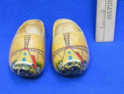 Miniature Wooden Clogs Dutch Holland Windmill Design Souvenirs Signed Pair
