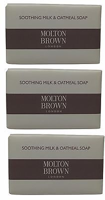 Molton Brown Milk & Oatmeal Soap lot of 3 each 2.6oz bars. Total of 7.8oz