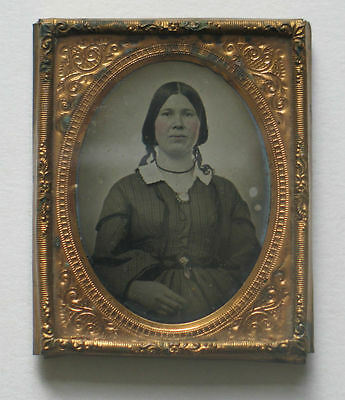 Ambrotype Woman Portrait Young Lady Antique Photo Brass Mount and Frame 2 x 2.5