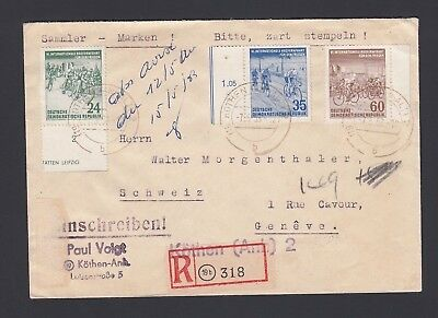 Germany Ddr 1953 Bicycle Issue On Registered Cover Kothen To Switzerland