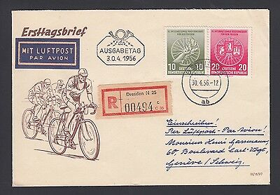 Germany Ddr 1956 Bicycle Issue On Registered First Day Cover Dresden To Geneva