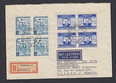 Germany Ddr 1952 Bicycle Issue On Registered Cover Radebeul To Switzerland