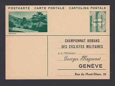 SWITZERLAND 1940's PS CARD ADDRESSED TO MILITARY CYCLISTS CHAMPIONSHIP GENEVA