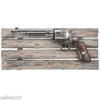 """RUSTIC PISTOL on WOODEN FRAME WESTERN HOME DECOR 17"""" x 7"""""""