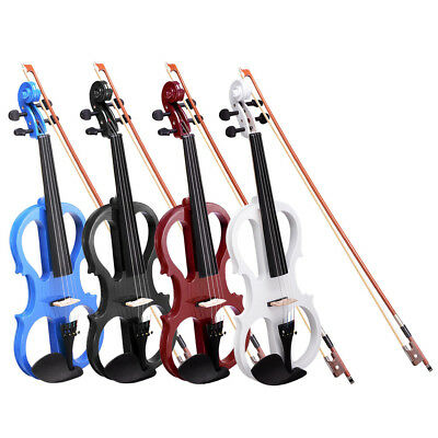 4/4 Electric Violin Full Right Handed Size Wood Silent Fiddle Bow Headphone Case
