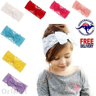 "7 Colors 4"" Baby Lace Bows Headband HairBand Head Wrap Toddler Girls Christening"