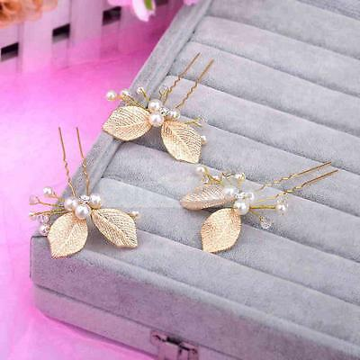 3pcs Wedding Bridal Pearl Hair Pin Hairpin Gold Leaf Hair Accessories