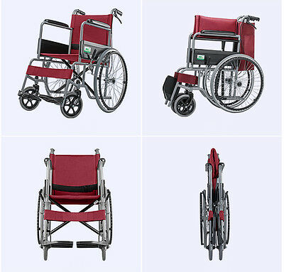 46cm width Red Manual Wheelchair folding lightweight Self Propelled BIG SALE