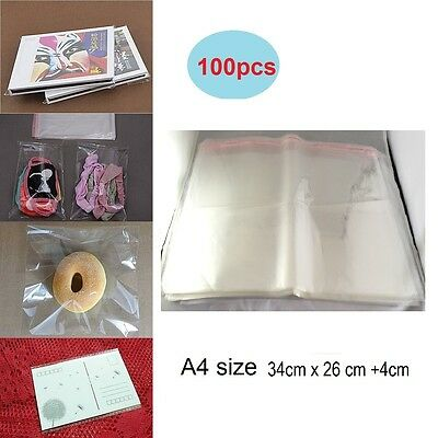 100pcs A4 23x34cm  Clear Cellophane Bags Self Adhesive Resealable Plastic  Bag