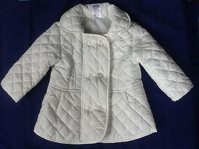 Target Baby Girl White Quilted Jacket, Polyester Size 00 - 3-6 months