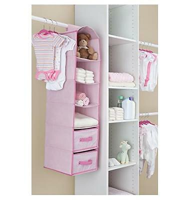 NEW Pinky Pink Girly 6 Shelf Storage With 2 Usefull Drawers By Delta Children
