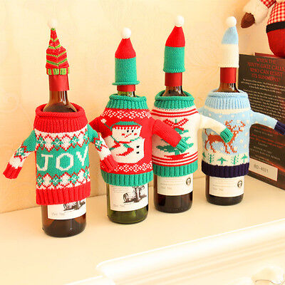 Wine Bottle Cover Bag Knitted Sweater Hat Gift Bag Christmas Xmas Tree Bar Decor