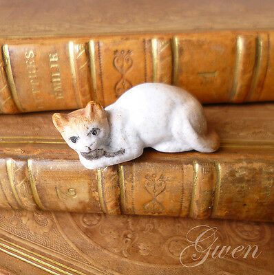 Feve Ancienne Allemande Chat 30 mm Souris 1890 Biscuit Miniature Figurine
