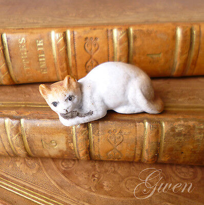 Feve ancienne allemande 1ere epoque Chat 30 mm Souris miniature Biscuit Figurine